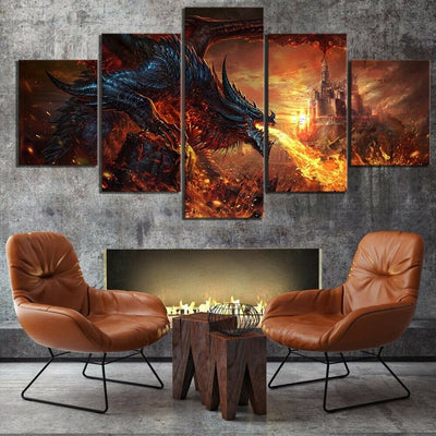 Dragon Fantasy Castle Fire Five Piece Canvas Wall Art Home Decor Multi Panel 5