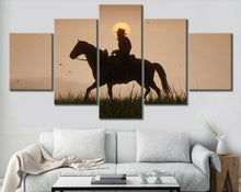 Cowboy Horse Sunset Country Five Piece Canvas Wall Art Home Decor Multi Panel 5