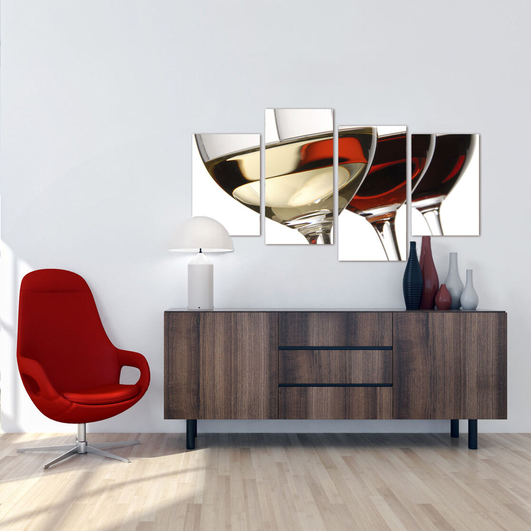 Wine Glasses Red and White 4 Piece Canvas Wall Art Home Decor Multi Panel Four