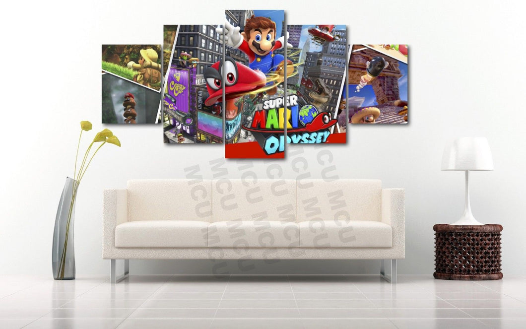 Super Mario Brothers Odyssey Video Game Canvas Five Piece - The Force Gallery