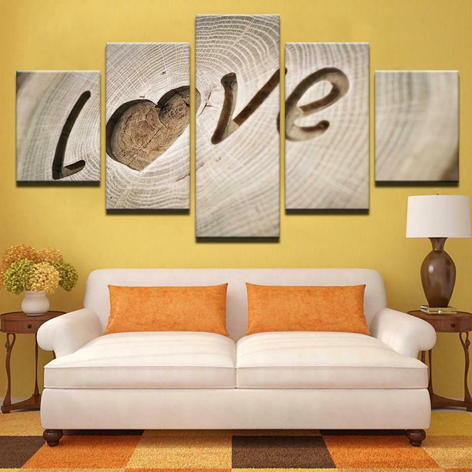 Love Family Tree Wood Look Five Piece Canvas Wall Art Home Decor Multi Panel 5