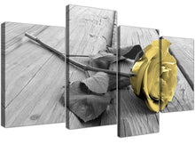 Yellow Rose Wood Look 4 Piece Canvas Wall Art Home Decor Multi Panel Four