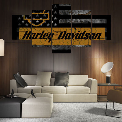 Harley Davidson Cracked Flag Canvas - The Force Gallery