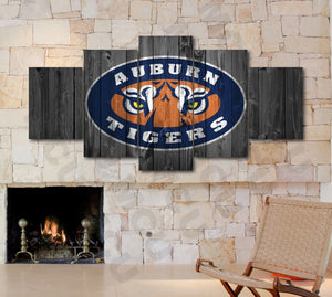 Auburn Tigers College Football Barnwood Style Canvas FIve Piece - The Force Gallery