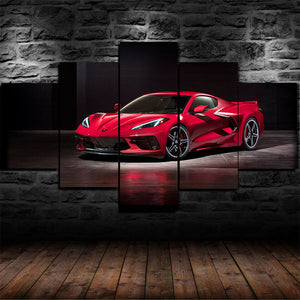 Chevy Corvette Stingray Five Piece Canvas Wall Art Home Decor Multi Panel 5