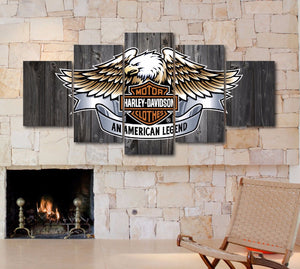 Harley Davidson Barnwood Style Bald Eagle Large Framed Canvas - The Force Gallery