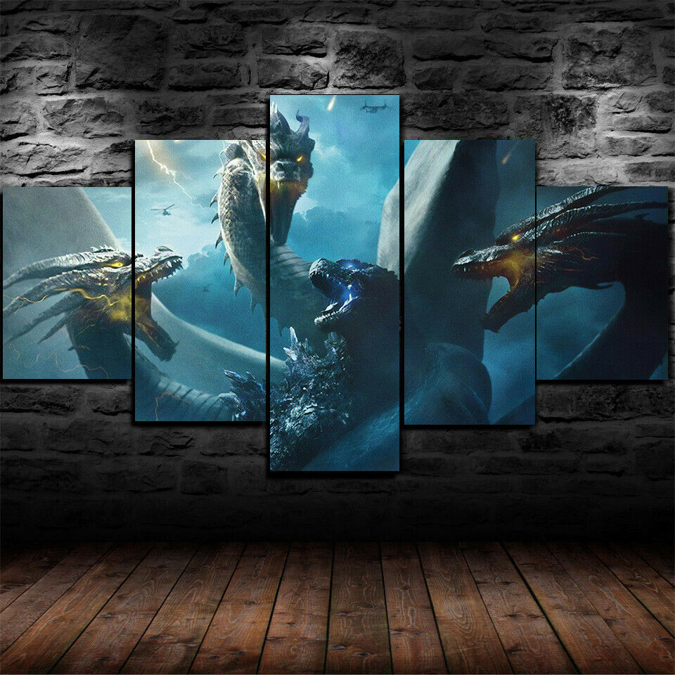 Godzilla King Of The Monsters Five Piece Canvas Wall Art Home Decor Framed