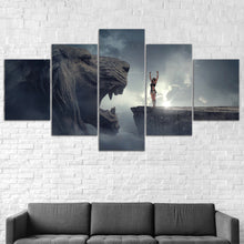 Fantasy Lion Success Mountain Five Piece Canvas Wall Art Home Decor Framed - The Force Gallery