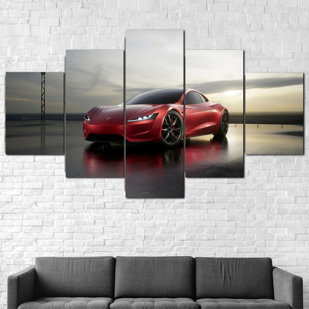 Tesla Roadster Electric Vehicle Five Piece Canvas Wall Art Home Decor Framed