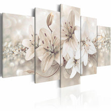 White Lily Flowers Five Piece Canvas Wall Art Home Decor Multi Panel 5 - The Force Gallery