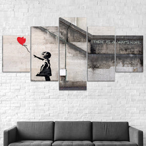 Bansky Red Balloon Abstract Graffiti Five Piece Canvas Wall Art Home Decor Framed - The Force Gallery
