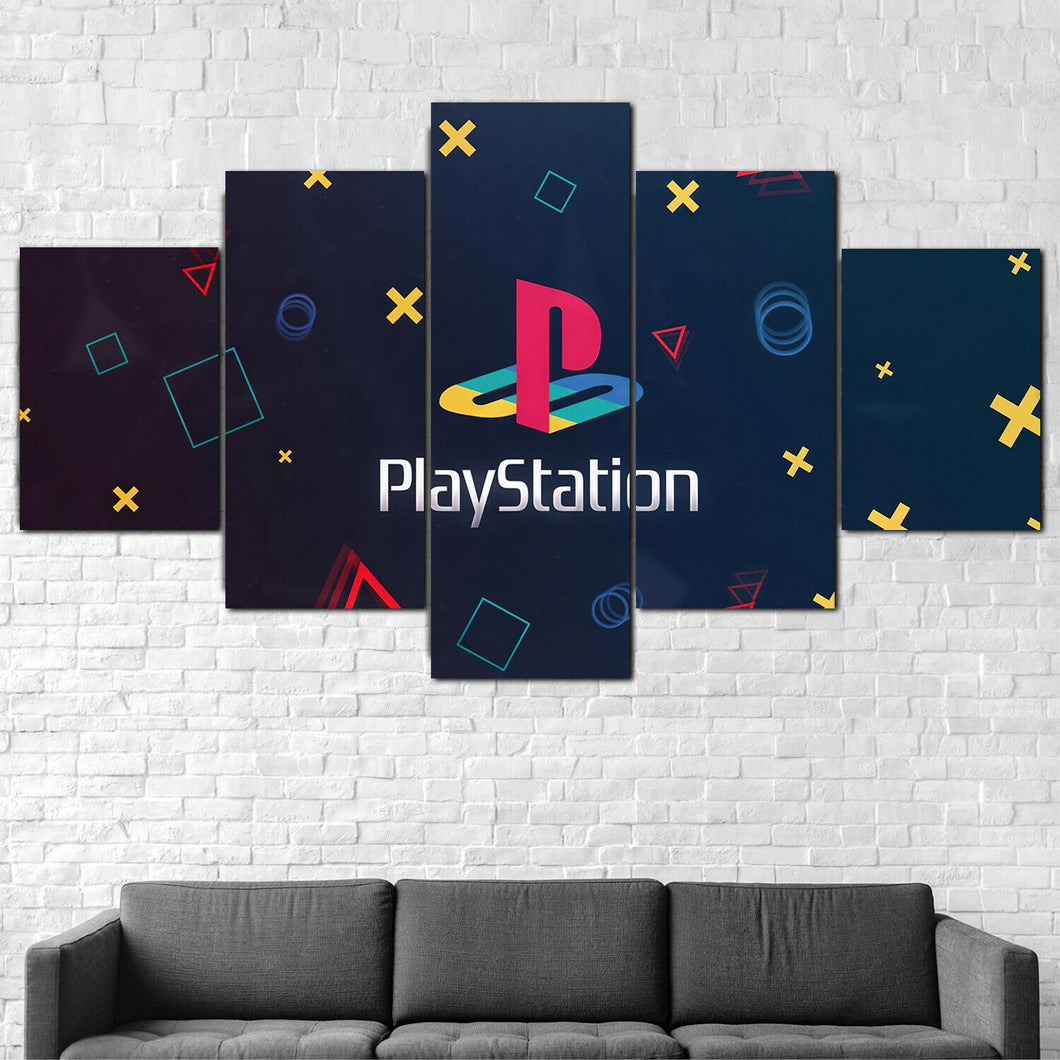 Playstation Symbol Five Piece Canvas Wall Art Home Decor Framed