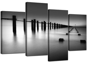 Black and White Ocean Dock 4 Piece Canvas Wall Art Home Decor Multi Panel Four