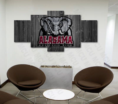 Alabama Crimson Tide College Football Canvas Barnwood Style - The Force Gallery