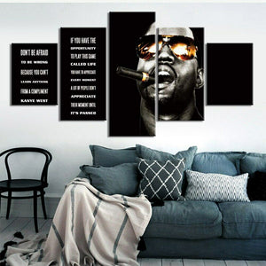Kanye West Quote Rapper Five Piece Canvas Wall Art Home Decor Multi Panel 5