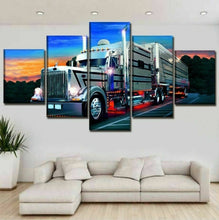 Semi-Trailer Long Haul Trucking Five Piece Canvas Wall Art Home Decor Framed - The Force Gallery
