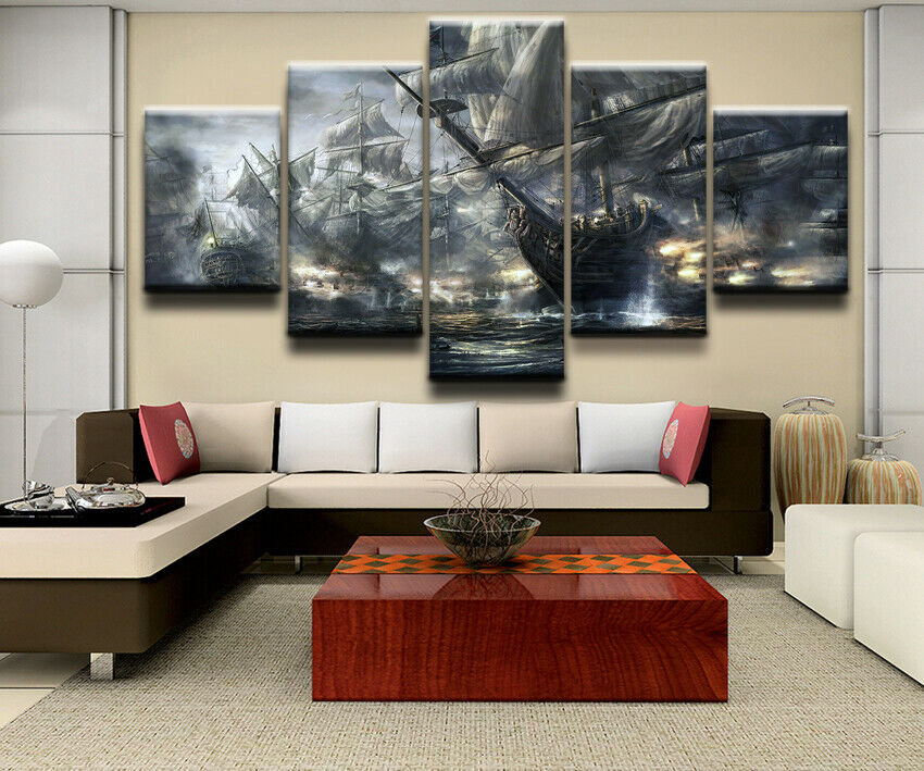 Pirate Ships Sea Battle Five Piece Canvas Wall Art Home Decor Multi Panel 5