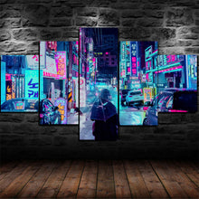 Neon Color Japanese City Street Five Piece Canvas Wall Art Home Decor Multi Panel 5
