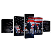 American Flag Soldiers Military Canvas Print Wall Art Home Decor - The Force Gallery