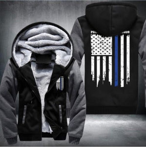 Police Blue Line Flag Hoodie Jacket - The Force Gallery