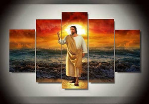 Jesus Christ Ocean Sunset Savior Five Piece Canvas Wall Art Home Decor Multi Panel - The Force Gallery