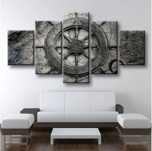 Rustic Nautical Wheel Canvas Five Piece Wall Art Home Decor - The Force Gallery