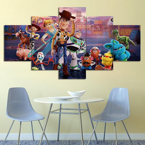 Toys Story Characters Five Piece Canvas Wall Art Home Decor Multi Panel 5