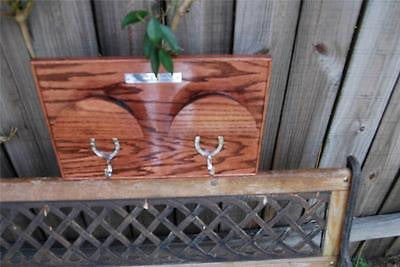 Classic Hardwood Bridle Rack -trimmed in solid hardwood beading for 2 Bridles / FREE SHIPPING - Greentrunksnmore