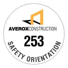 Custom Numbered Hard Hat Sticker - 2 inch Circle