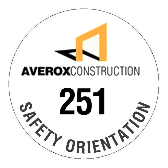 Custom Numbered Hard Hat Sticker - 2.5 inch Circle
