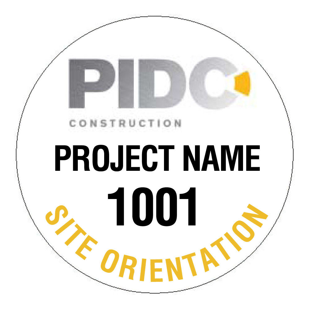 Custom Project Numbered Hard Hat Sticker - 2.5 inch Circle