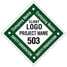 Custom Safety Orientation Hard Hat Sticker - 2 inch Diamond