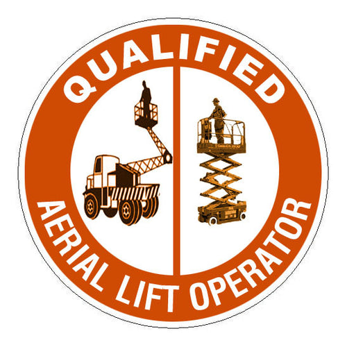 Qualified Aerial Lift Operator Hard Hat Sticker - 2 inch Circle