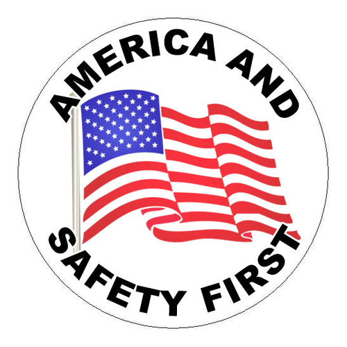 America and Safety First Hard Hat Sticker - 2 inch Circle
