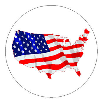 Nation American Flag Hard Hat Sticker - 2 inch Circle