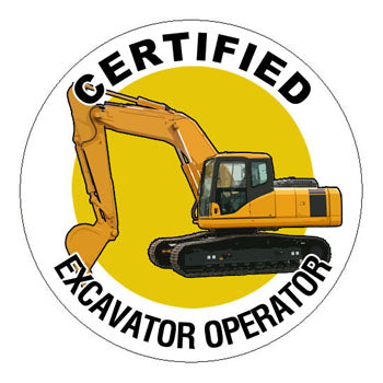 Certified Excavator Operator Hard Hat Sticker - 2 inch Circle