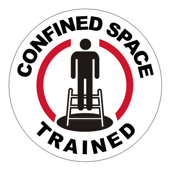 Confined Space Trained Hard Hat Sticker 2 - 2 inch Circle