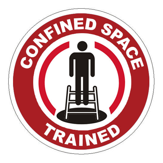 Confined Space Trained Hard Hat Sticker 1 - 2 inch Circle