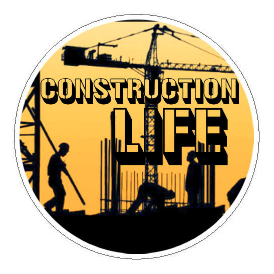 Construction Life Hard Hat Sticker - 2 inch Circle