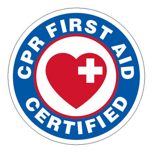 CPR First Aid Certified Hard Hat Sticker - 2 inch Circle