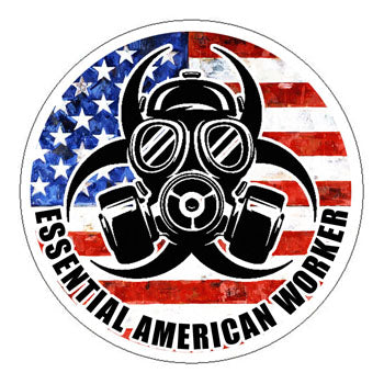 Essential American Worker Hard Hat Sticker - 2 inch Circle