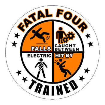 Fatal Four Trained Hard Hat Sticker 1 - 2 inch Circle