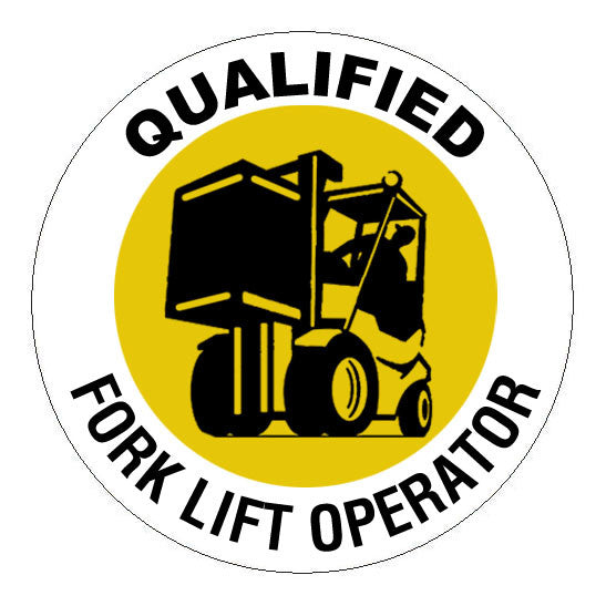 Qualified Forklift Operator Hard Hat Sticker - 2 inch Circle