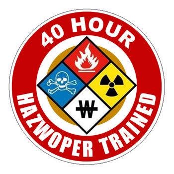 HAZWOPER 40 Hour Trained Hard Hat Sticker 1 - 2 inch Circle