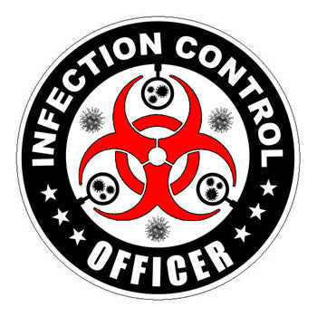 Infection Control Officer (ICO) Hard Hat Sticker Black - 2 inch Circle