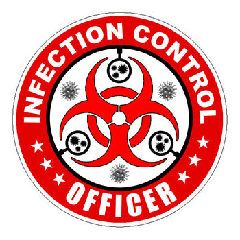 Infection Control Officer (ICO) Hard Hat Sticker Red - 2 inch Circle