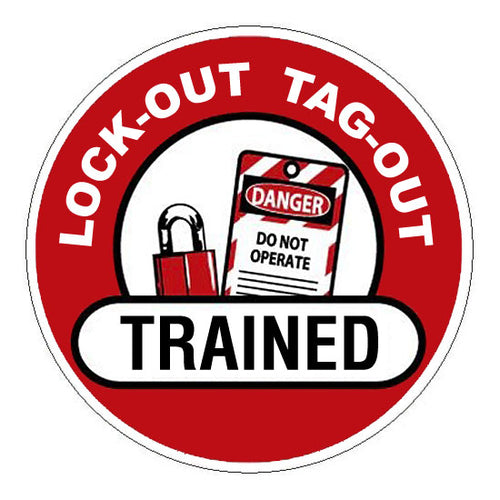 Lock-Out Tag-Out Trained Hard Hat Sticker 1 - 2 inch Circle