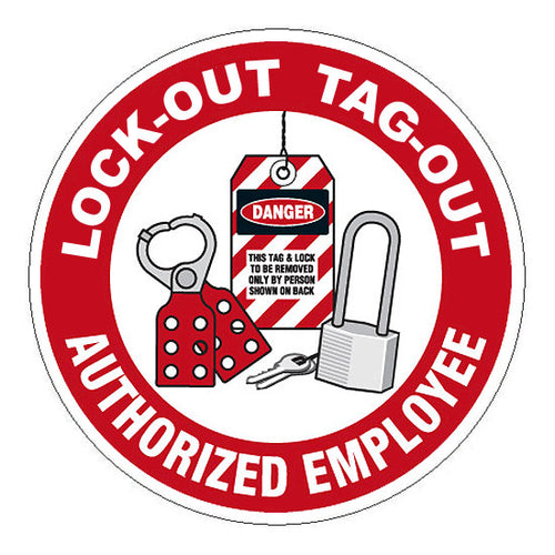 Lock-Out Tag-Out Trained Hard Hat Sticker 2 - 2 inch Circle