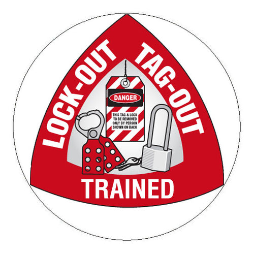 Lock-Out Tag-Out Trained Hard Hat Sticker 3 - 2 inch Circle