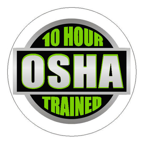 OSHA 10 Hour Trained Hard Hat Sticker Green - 2 inch Circle